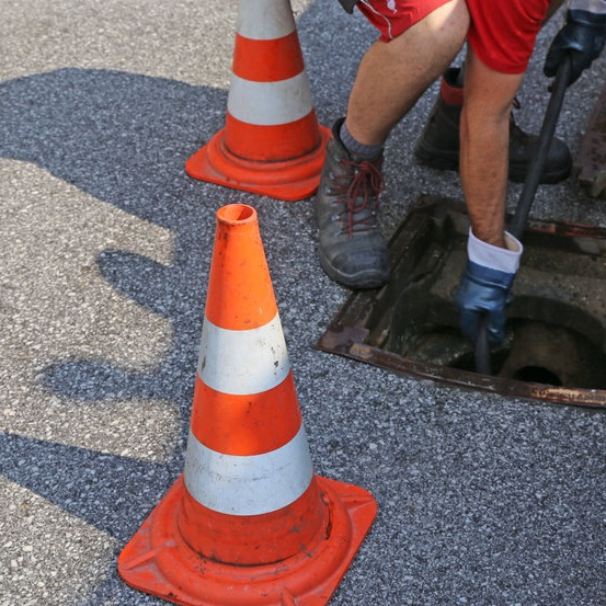 sewer inspection being completed