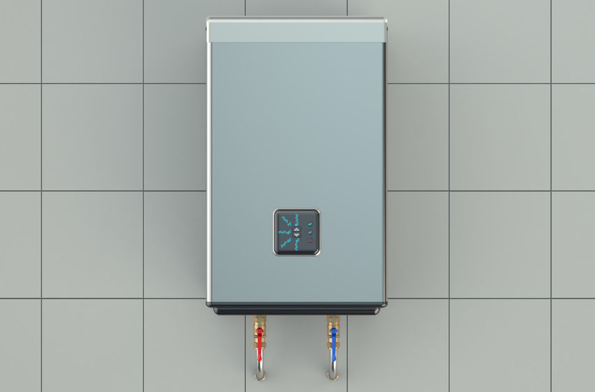 automatic water heater on white background tiles